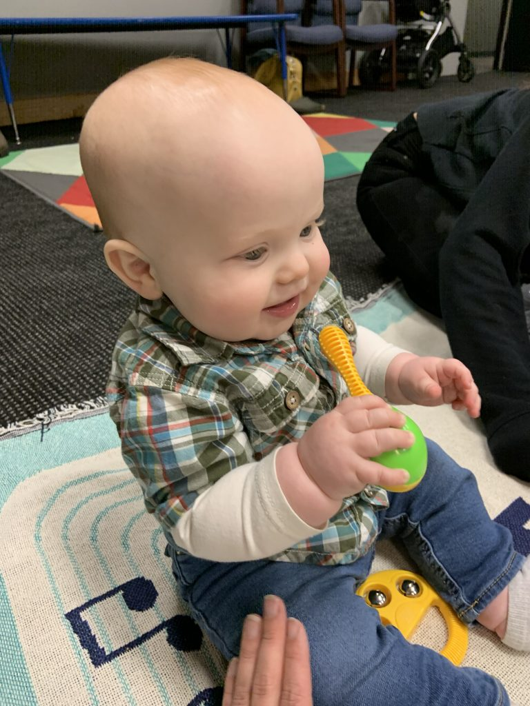 Baby in kindermusik music class